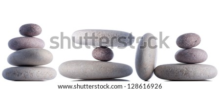 Set fo rocks isolated on white inside studio. - stock photo