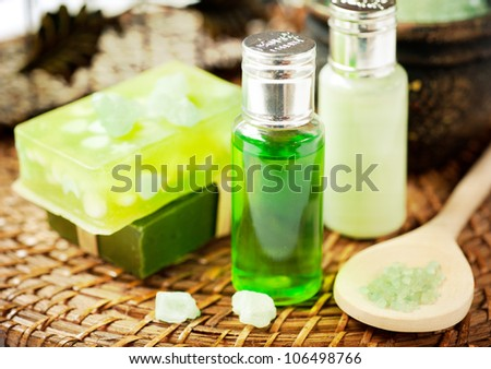 Set for a spa: handmade soaps, aromatic oils and sea salt