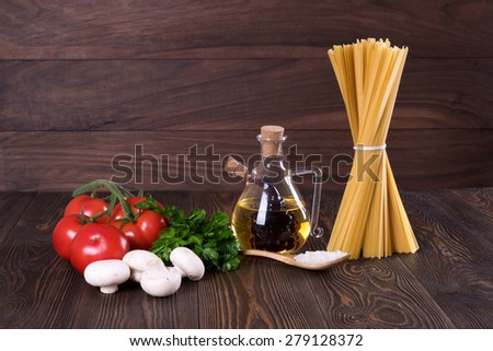 Set for cooking pasta. Rustic.