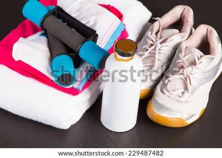 set for sports activities on black background - stock photo