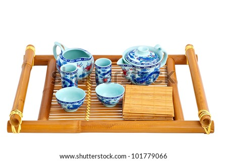 Set for tea ceremony on a white background - stock photo