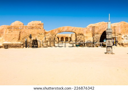 Set for the Star Wars movie still stands in the Tunisian desert near Tozeur. - stock photo