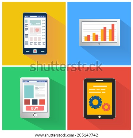 Set for web and mobile applications of smartphones media concepts items icons in flat design. Raster version - stock photo