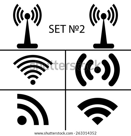 Set 2. Fourteen different black wireless and wifi icons for remote access and communication via radio waves. illustration  - stock photo