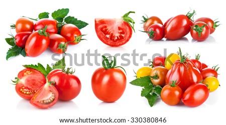 Set fresh tomatoes with green leaf. Isolated on white background. Illustration - stock photo