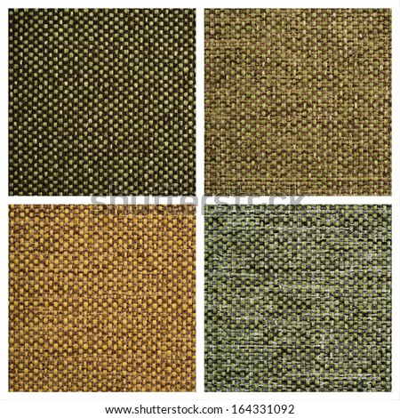 Set from four textile backgrounds on white. - stock photo