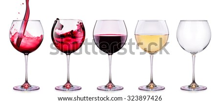Set from glasses with wine isolated on a white background - stock photo