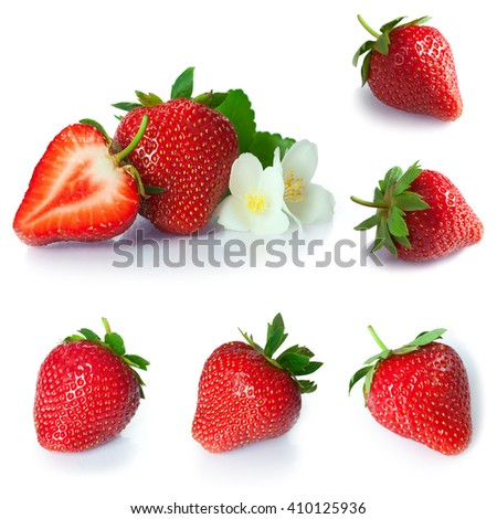 set from strawberry berries close up. isolated on white - stock photo