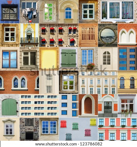 Set From The Different Types Of Windows - stock photo