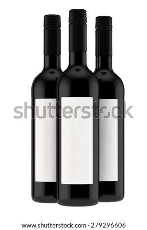 set from three bottles from dark glass for red wine - stock photo