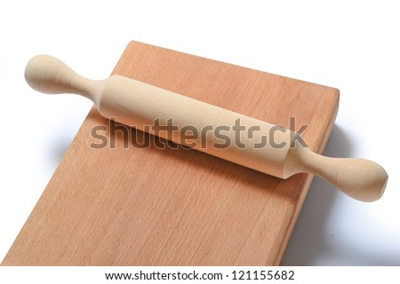 Set from traditional wooden kitchen devices - stock photo