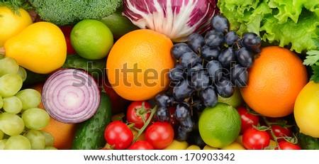 set fruit and vegetable background                                     - stock photo