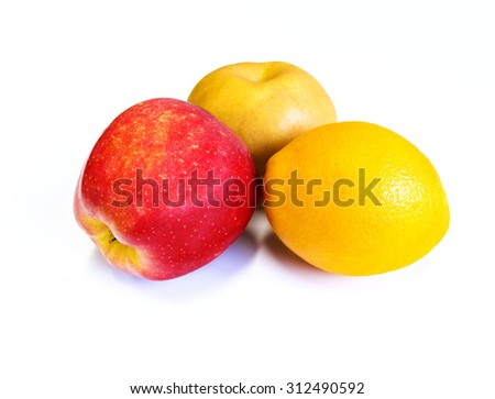 set fruit isolated on a white background