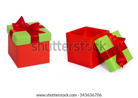 Set Gift box and Open Gift box with red ribbon and bow. Present.