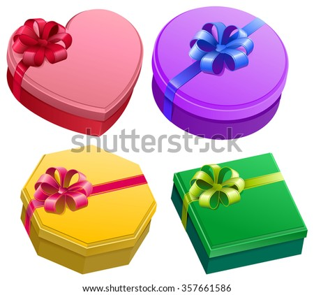 Set gift box with ribbon and bow. Isolated illustration - stock photo