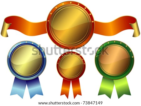 Set gold, silver and bronze awards on a white background - stock photo