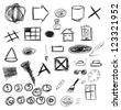 Set hand drawn, doodle, numbers, shapes, circle, square, star, triangle, line - stock photo