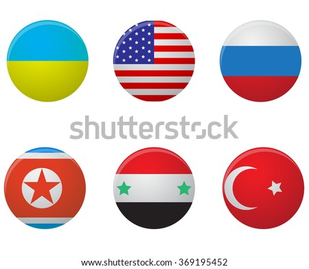 Set icon county. Ukraine and russia, syria and north korea, turkey and america. art abstract unusual fashion illustration - stock photo