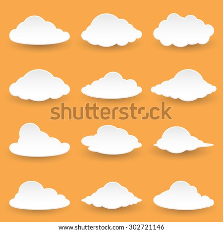 Set Icon Messages in the form of Clouds. Illustration  - stock photo