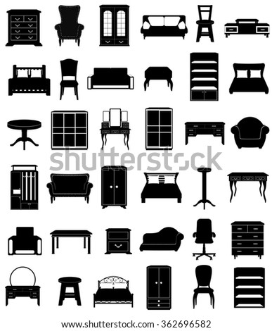 set icons furniture black silhouette outline illustration isolated on white background - stock photo