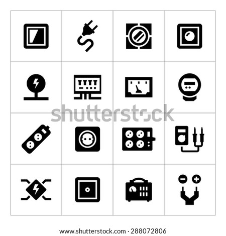 Set icons of electricity isolated on white - stock photo