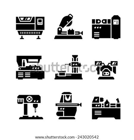 Set icons of machine tool isolated on white - stock photo