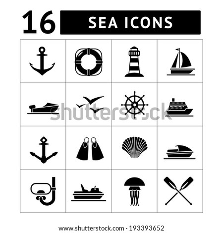 Set icons of sea, beach and travel isolated on white - stock photo