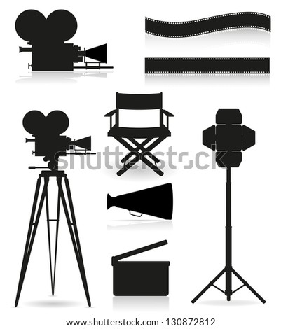 set icons silhouette cinematography cinema and movie illustration isolated on white background - stock photo