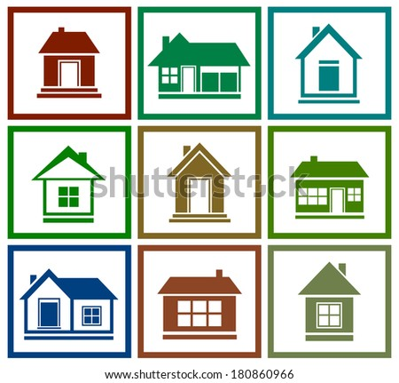 set icons with isolated colorful house silhouette - stock photo