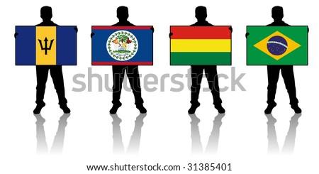 set 2 -  illustration of a man holding a flag - stock photo