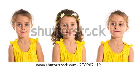 Set images of blonde little girl over white background - stock photo