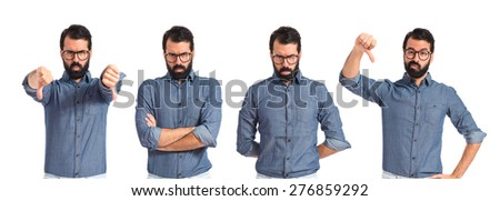 Set images of hipster man