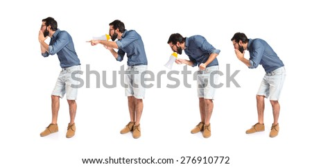 Set images of hipster man shouting by megaphone