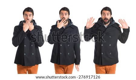Set images of man doing surprise gesture - stock photo