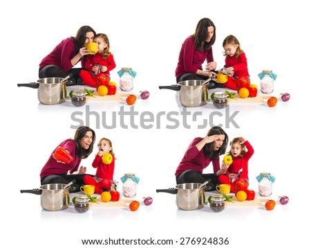 Set images of mother and daughter playing cooking - stock photo