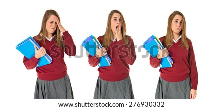 Set images of rustrated student - stock photo