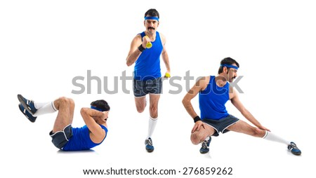 Set images of sportman doing abs, running, and stretching - stock photo