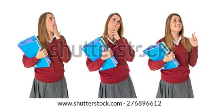 Set images of student thinking - stock photo