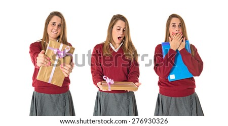 Set images of student with gift - stock photo