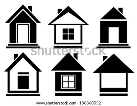 set isolated home silhouette - vector collection house icons - stock photo