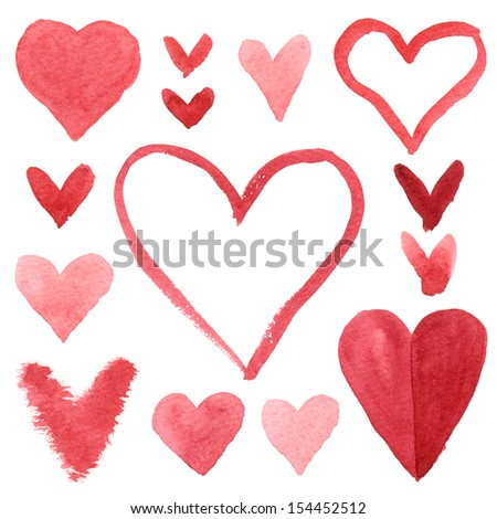Set isolated watercolor hearts - stock photo