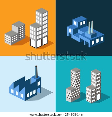 Set isometric urban homes and buildings