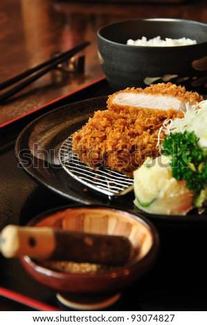 set japanese fried pork - stock photo