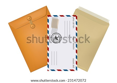 Set konfertov mail with stamps isolated on white background. Raster copy.  - stock photo