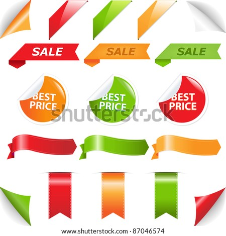 Set Labels And Web Ribbons, Isolated On White Background - stock photo