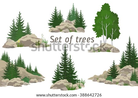 Set Landscapes, Isolated on White Background Coniferous and Deciduous Trees, Flowers and Grass on the Rocks.  - stock photo