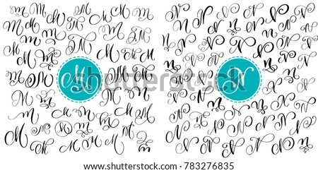 Set Letter M N Hand Drawn Flourish Calligraphy Script Font Isolated Letters