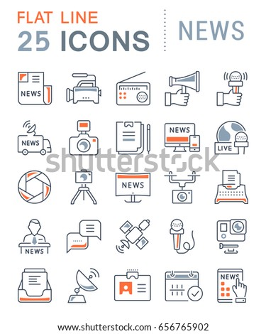 Set line icons, sign and symbols in flat design news with elements for mobile concepts and web apps. Collection modern infographic logo and pictogram.