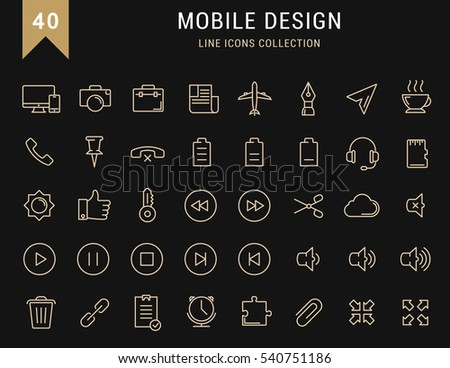 Set  line icons with open path mobile design and development with elements for  concepts and web apps. Collection modern infographic logo and pictogram. Raster version.