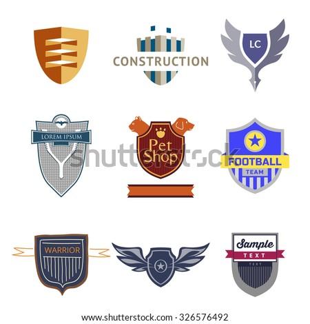 Set logo templates with a shield. Heraldic style. Logos on various topics. - stock photo